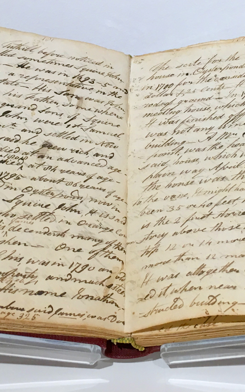 <h3>Manuscript Journal</h3> <p><i>Augustus Griffin</i> <br> 1845-1846</p> <br> <br> <p>This manuscript journal from 1845-46 was written By Augustus Griffin (1767-1866) whose diary and writings are the most important documents about the early history of Oysterponds and indeed the whole of the North Fork. He titled this <i>Augustus Griffin's Journal containing sketches of the Griffin family [and] the Tuthill family / others – early, and late associates – Friends – neighbours – ancient, and modern inhabitants of this secluded place (Orient) etc.</i> It is opened to a page where Griffin recounts the history of Orient's Congregational church and sketches what is the only known illustration of the early meeting house in Oysterponds built three hundred years ago.</p>