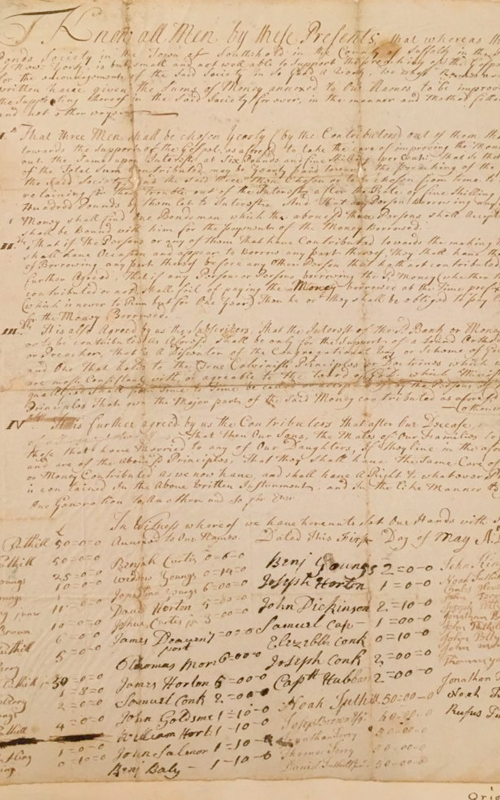 <h3>Bank Articles</h3> <br> <p>1739</p> <br> <br> <p>This was devised as a way to pay the minister's salary.</p>