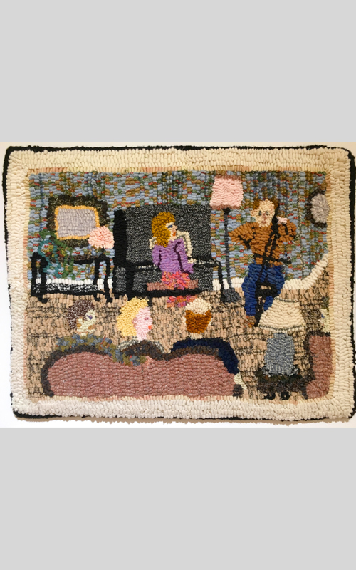 <h3>Hooked Tapestry</h3> <p><i>Gail Horton</i></p> <br> <p><strong>Gift of the artist</strong></p> <br> <br> <p>Titled <i>An Orient Evening,</i> this is one of fourteen hooked tapestries Gail Horton created based on her husband's recollection s of his childhood in orient. The scene depicts the Horton family at a musical evening in the home of Walter and Evelyn Kluge. The Hortons are in front (left to right): Dave (Gail's husband), his mother, his father, his brother – who is just visible on the far right. Evelyn Kluge is shown playing the piano and Lloyd Terry is playing his one-stringed instrument known as a vio.</p>