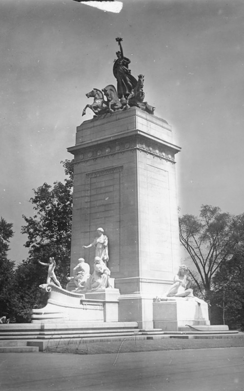 <h3>The Maine Monument, Columbus Circle</h3> <br> <p><i>William Steeple Davis</i><p> <br> <p><strong>Ca. 1915 <br> Gift of the William Steeple Davis Trust</strong></p> <br> <br> <p>Davis made several photographs of this impressive New York City monument in varying light conditions. This version has a very strong light hitting the south side of the monument which stands at the southwest corner of Central Park at Columbus Circle. The southwest entrance to the park is known as Merchant's Gate. The monument is formally known as the U.S.S. Maine National Monument and was built to commemorate the men who died when the U.S.S. Maine was blown up in Havana Harbor on February 15, 1898. This event was the catalyst for the Spanish-American War which began about two months afterwards. The architect was Harold Van Buren Magonigle and the sculptor was Attilio Piccirilli. The monument was dedicated May 30, 1913.</p>