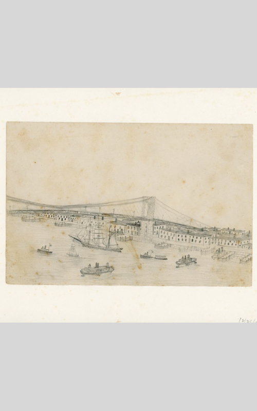 <h3>The Brooklyn Bridge</h3> <br> <p><i>William Steeple Davis</i><p> <br> <p><strong>1893 (Pencil) <br> Gift of the William Steeple Davis Trust</strong></p> <br> <br> <p>Davis' father's family lived in Brooklyn and he was often there as a child. He was born in 1884 – just a year after the Brooklyn Bridge opened – so would have been familiar with the bridge all his life. This charming childhood drawing was probably made when he was eight or nine years old.</p>