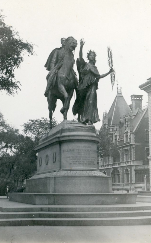 <h3>Sherman Statue, Plaza, NY</h3> <br> <p><i>William Steeple Davis</i><p> <br> <p><strong>1913 <br> Gift of the William Steeple Davis Trust</strong></p> <br> <br> <p>Augustus St. Gaudens completed his important equestrian sculpture of General Sherman in 1903. It is generally considered one of the finest public sculptures in America. The sculpture originally stood in the lower part of Grand Army Plaza (Fifth Avenue at 59th Street) in New York City, but was moved to the northern part of the plaza in 1913 when the Pulitzer Fountain was designed for the southern part. This photograph shows it in its new – and current – location. The Fifth Avenue mansion in the background is the Elbridge Gerry house built by Richard Morris Hunt in 1897. It was demolished in 1929 to make way for the Pierre Hotel. Just visible at the right is the Metropolitan Club. Owing to the fact of its being moved, the Sherman sculpture was most likely very much in the news around the time Davis took this photograph.</p>