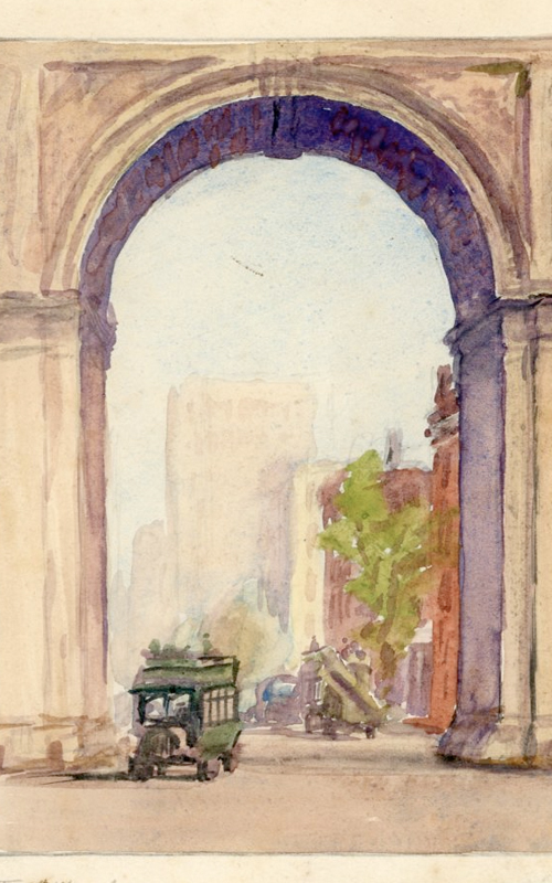 <h3>Washington Square Arch</h3> <br> <p><i>William Steeple Davis</i><p> <br> <p><strong>Ca. 1925 (Watercolor) <br> Gift of the William Steeple Davis Trust</strong></p> <br> <br> <p>This watercolor was made for one of Davis' commercial ventures. He frequently made series of drawings and watercolors of all kinds of subjects for publishers of calendars. Subject matter might include cities of the world, transportation, national parks, famous streets, etc. Here the view of Fifth Avenue through the Washington Square Arch was based on one of the photographs in this exhibition.</p>