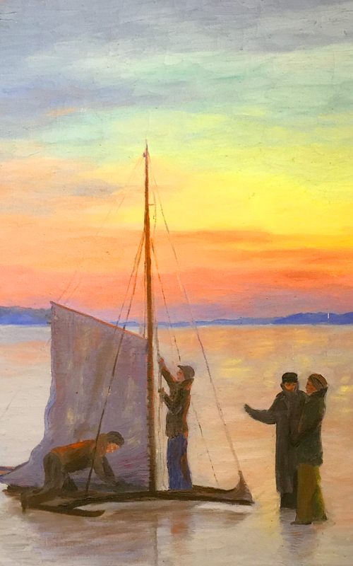 <h3>Ice Boating on Orient Bay</h3> <p><i>Albert Latham</i> <br> <strong>Undated</strong> <br> <br> Oil on Canvas</strong></p> <br> <p>Albert Eldridge Latham (1909-1976) was born in Orient, trained as a carpenter, and eventually took up painting. He is thought to have studied informally with William Steeple Davis. Most of his paintings are of familiar Oysterponds subjects.</p>
