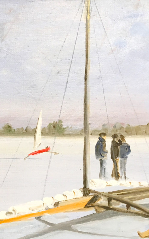 <h3>Ice Boats</h3> <br> <p><i>Fredrica Wachsberger</i></p> <strong>200 - acrylic on canvas <br> Gift of the artist</strong> <br> <br> <p>The ice boating depicted here is on Hallock's Bay – a much shallower body of water than Orient Harbor.</p>