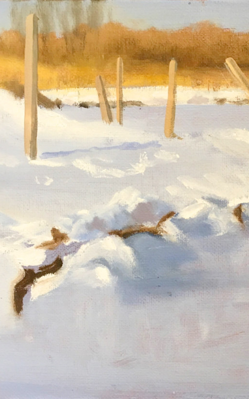 <h3>Hallock's Bay in Winter</h3> <br> <p><i>Fredrica Wachsberger</i></p> <strong>2000 - acrylic on canvas <br> Gift of the artist</strong> <br> <br> <p>Fredrica Wachsberger is an artist, archaeologist, art historian and writer who served on the Board of Trustees of the Oysterponds Historical Society for many years. She has been active in many aspects of Orient life and is the curator of the exhibition The 1980s: The Decade We Almost Lost Orient which is on view in one of these galleries.</p>