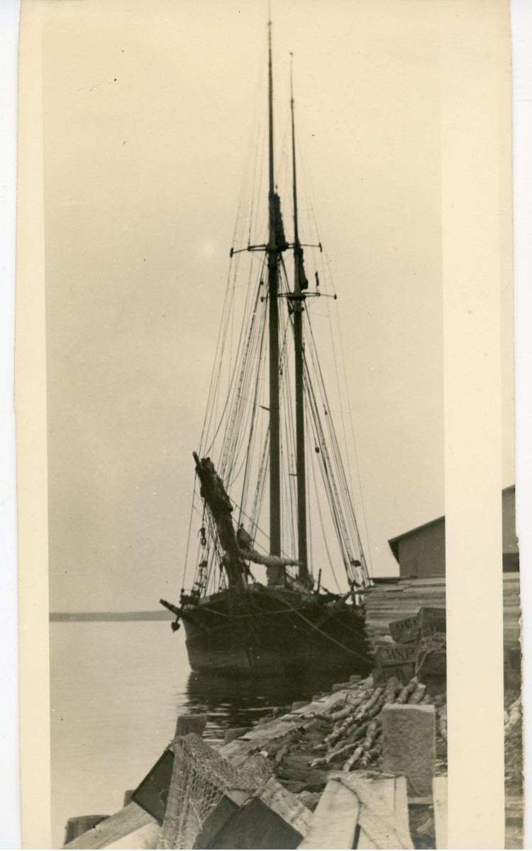 <h3><em>Potato Schooner from Nova Scotia</em></h3> <br> <p><strong>L. Vinton Richard</strong></p> <p><strong>Ca. 1915</strong></p> <br> <p>This photograph of a schooner at the Orient wharf was carefully composed by Richard. It was cropped from a larger photograph and ranks as one of his finest maritime studies.</p>