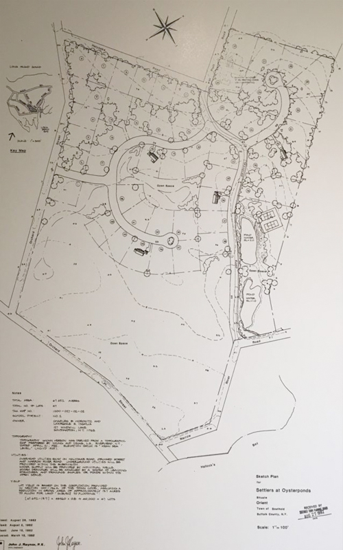 """<h3>Hallock Farms: 55 Houses</h3> <p><strong><i>""""What we're talking about here is dropping a neo-suburban housing development into a farm field directly adjoining one of the most scenic vistas on the North Fork…""""</i></strong></p> <br> <br> <strong>1982: THE OLD HALLOCK FARM GOES ON THE BLOCK</strong> <br> <br> <p>In February, The Suffolk Times announced that the Hallock Farm was for sale. The owner, Louis Demarest, complained that the<strong><i>high interest rate on short-term loans</i></strong> was putting him out of business. <br> <br> In March, Southampton developer Charles Horowitz submitted a preliminary application to the town for a 55 lot cluster development on 67 acres. """"It's going to look like a New England Village—like Nantucket,"""" he told the Suffolk Times. <br> <br> <strong>The Planning Board received multiple letters from Orient residents protesting the project.</strong> <br> <br> <strong>Groundwater Challenges Development:</strong> Despite evidence of problems with groundwater, the Planning Board determined in April that there would be """"no significant environmental impact."""" But in May, the Suffolk County Public Health engineer found that the groundwater on the Horowitz property had high nitrate levels and was undrinkable, and was too shallow (3 to 4 feet) to accommodate water systems; in December, the Suffolk County Department of Health Services determined that individual wells would not be acceptable.  But Horowitz now planned a community water system. <br> <br> <strong>1983: ORIENT OUT IN FORCE</strong><i> (The Suffolk Times)</i> <br> <br> Community Protests Project: The proposed development received preliminary approval from the Town. But at a public hearing in April, North Fork Environmental Council chairman Ruth Oliva (an Orient resident) asked why the Planning Board had ignored its own policy of not proceeding with applications until the water and sewer systems were approved by the County Health Department. The Planning Board again received many l"""
