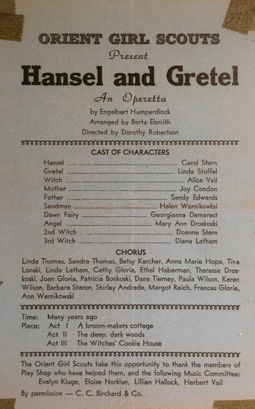 <h3>Hansel & Gretel</h3> <p><i>Orient Girl Scouts</i></p>