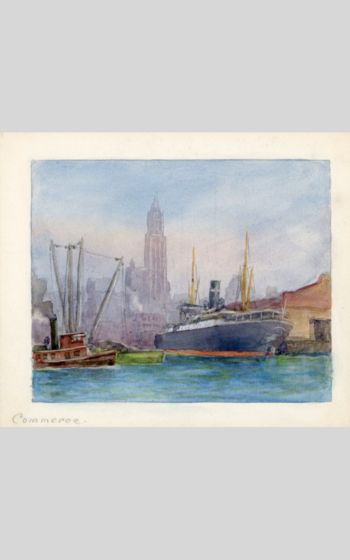 """<h3>Commerce</h3> <br> <p><i>William Steeple Davis</i><p> <br> <p><strong>Undated (Watercolor) <br> Gift of the William Steeple Davis Trust</strong></p> <br> <br> <p>One of the series Davis created for a publisher of calendars was called """"Commerce."""" From an unpublished manuscript in the OHS collection titled """"Window of Enchantment,"""" we know how fascinated Davis was by the commercial activities of the Port of New York. In that piece he wrote: """"To what port is that outward bound ship going as the tugs lines are cast off? And from what port came this ship we see moving slowly in from sea flying an unfamiliar flag? It is all a part of the romance and activity of a great seaport.""""</p>"""