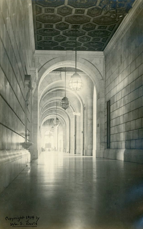 <h3>Reflections - New York Public Library</h3> <br> <p><i>William Steeple Davis</i><p> <br> <p><strong>Ca. 1914 <br> Gift of the William Steeple Davis Trust</strong></p> <br> <br> <p>Davis photographed the New York Public Library a few years after it opened on the site of the old Croton Reservoir. Designed by the noted architectural firm of Carrere & Hastings, the cornerstone was laid in 1902 and the building officially dedicated in 1911. In his book Practical Amateur Photography, published in 1922, Davis illustrates this photograph in the chapter on architecture. This is one of several photographs by Davis of the interior of the New York Public Library building.</p>