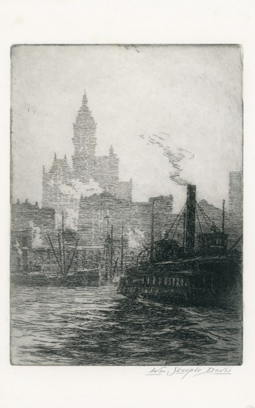 <h3>Manhattan from the River</h3> <br> <p><i>William Steeple Davis</i><p> <br> <p><strong>1916 (Etching) <br> Gift of the William Steeple Davis Trust</strong></p> <br> <br> <p>Davis on occasion used images from his photographs as subject matter for his prints. This can be seen clearly in this etching showing the East River and the skyline of Manhattan. Davis's printmaking is an important aspect of his work, and most of his prints are either etchings or linoleum or wood block prints. He first exhibited his prints in 1914.</p>