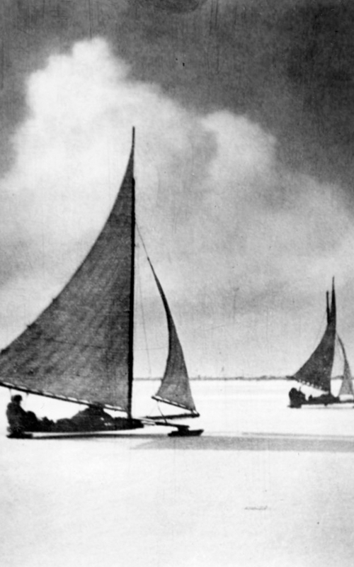 """<h3>Ice Boats on Orient Harbor</h3> <br> <p><i>William Steeple Davis</i></p> <strong>1917 <br> Gift of the William Steeple Davis Trust</strong> <br> <br> <p>This photograph was also titled """"Good Sport.""""  We know the very day this photograph was taken:  February 17, 1917.</p>"""