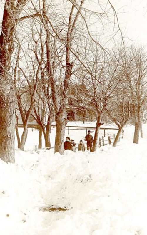 <h3>Snow Scene at East Marion</h3> <br> <p><i>Photographer unknown</i></p> <strong>Late nineteenth century</strong> <br> <br> <p>This view of the Main Road in East Marion is looking east toward the East Marion Baptist Church. The church, built in 1846, was greatly expanded in a major re-building later in the century.</p>