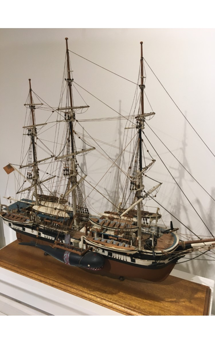 <h3>MODEL OF THE <em>CHARLES W. MORGAN</em></h3> <br> <p><strong>Attributed to Wiliam Conklin</strong></p> <p><strong>1900?</strong></p> <br> <p>The Charles W. Morgan is the last ship of an American whaling fleet that numbered more than 2700 vessels. She was built in 1841 in New Bedford, Massachusetts, and measures 106 feet 11 inches on deck; her beam measures 27 feet, 9 inches. Over an extraordinarily long eighty-year whaling career, she made thirty-seven voyages – most lasting at least three years. The Charles W. Morgan's whaling days ended in 1921, and since 1941 she has been at Mystic Seaport in Connecticut. After a major restoration, the Charles W. Morgan made her thirty-eighth voyage in 2014 around New England ports. This model shows her crew cutting in a whale; the large strip of blubber would be boiled in the trypots on the forward deck to produce whale oil.</p> <br> </p>The Charles W. Morgan is the last ship of an American whaling fleet that numbered more than 2700 vessels. She was built in 1841 in New Bedford, Massachusetts, and measures 106 feet 11 inches on deck; her beam measures 27 feet, 9 inches. Over an extraordinarily long eighty-year whaling career, she made thirty-seven voyages – most lasting at least three years. The Charles W. Morgan's whaling days ended in 1921, and since 1941 she has been at Mystic Seaport in Connecticut. After a major restoration, the Charles W. Morgan made her thirty-eighth voyage in 2014 around New England ports. This model shows her crew cutting in a whale; the large strip of blubber would be boiled in the trypots on the forward deck to produce whale oil.</p>