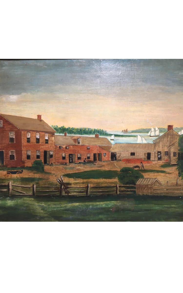 <h3>THE HEMPSTEAD POTTERY WORKS IN GREENPORT</em></h3> <br> <p><strong>Painter unknown</strong></p> <p><strong>Ca. 1840</strong></p> <p><strong>Gift of George R. Latham</strong></p> <br> <p>This painting depicts the redware pottery works in Greenport which was started by Austin Hempstead and Samuel Osborn in 1819. Sadly no trace of the pottery factory remains today. It was located on a site between Sterling Street and Sterling Harbor. The map shows its exact location and the arrow indicates the direction of the view depicted by the painter. The unknown artist was correct in his topography in the way he has illustrated the distant view. In the 1830s Austin Hempstead became the sole owner of the enterprise, and it remained in the Hempstead family until it finally closed in 1873. The Hempstead Pottery produced only redware until Thomas Hempstead, Austin's son, introduced stoneware around 1860. This map of a part of Greenport shows the location of the Hempstead Pottery. The arrow indicates the direction of the view depicted. It is topographically accurate.</p>