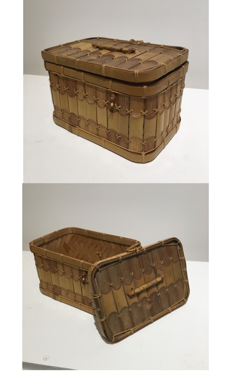 <h3>SCHOOL LUNCH BASKET</em></h3> <br> <p><strong>Bamboo</strong></p> <p><strong>Late-nineteenth century</strong></p> <p><strong>Gift of George R. Latham</strong></p> <br> <p>This lunch basket belonged to Nancy Latham Griffin (1885-1961) who carried it to the Orient village school. There are several of these in the OHS collection. The origins of this sort of lunch box are unknown – perhaps they were made in China or Southeast Asia.</p>