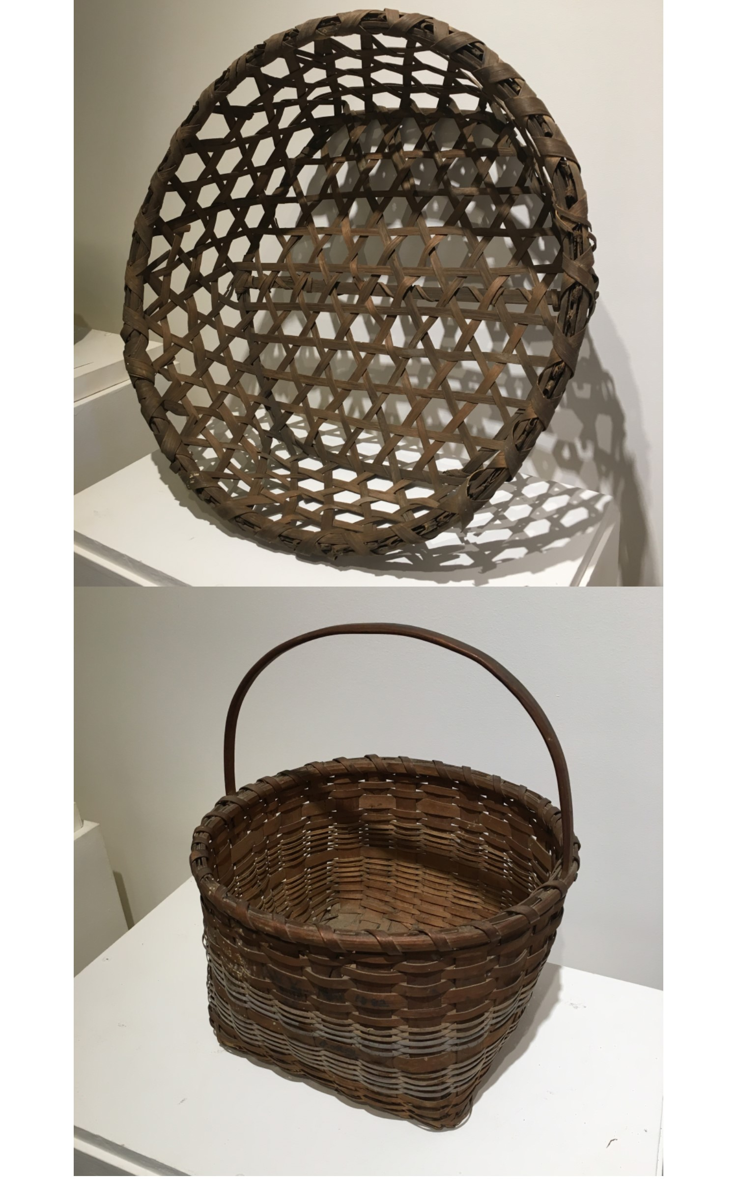 <h3>CHEESE BASKET</em></h3> <br> <p><strong>Oak</strong></p> <p><strong>Ca. 1900</strong></p> <p><strong>Gift of George R. Latham</strong></p> <br> <p>Baskets of this sort were used for making cheese. The pattern is a hexagonal weave. In making cheese, cheesecloth would line the basket and the mixture would drain through both the cloth and the hexagonal openings to a container below.</p> <br> <br> <hr> <br> <br> <h3>GATHERING BASKET</h3> <br> <p><strong>Maple</strong></p> <p><strong>1882</strong></p> <p><strong>Gift in memory of departed loved ones by Douglas and Karin Constant</strong></p> <br> <p>This is one of only two baskets in the exhibition that we know for certain were made in Orient, and it is the only one that is dated. It is signed and dated in black ink: W Young / Mar 1882 / Orient / L. I. and below that are the initials (probably the owner's): P.M.Y. The basket is woven with splints of maple and has a decoration of two bands of narrower maple splints painted in a contrasting color.</p>