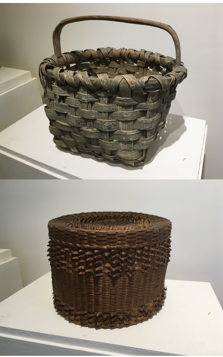 """<h3>GATHERING BASKET</h3> <br> <p><strong>Hickory</strong></p> <p><strong>Late-nineteenth century</strong></p> <p><strong>Gift of Doug Rogers</strong></p> <br> <p>This gathering or field basket has its original gray paint. Made of hickory, a strong wood, it would probably have been used for harvesting vegetables.</p> <br> <br> <hr> <br> <br> <h3>ROUND LIDDED BASKET</h3> <br> <p><strong>Ash</strong></p> <p><strong>Late-nineteenth century</strong></p> <p><strong>Gift of George Terry</strong></p> <br> <p>This beautifully crafted round basket with cover is made of ash splints woven in a very decorative manner known as """"porcupine twist."""" The twists are very small, very tight, and very finely executed. Little is known about this basket and its origins, but many baskets with this fancy weaving are American Indian.</p>"""