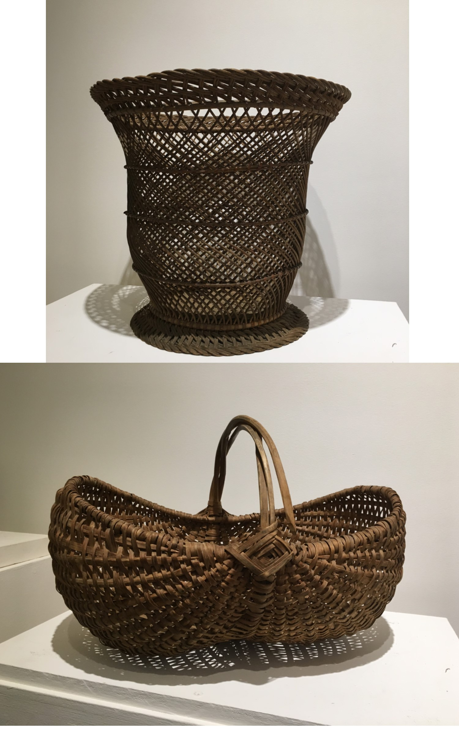 """<h3>WASTEPAPER BASKET</em></h3> <br> <p><strong>Wicker</strong></p> <p><strong>Ca. 1900</strong></p> <p><strong>Gift of George R. Latham</strong></p> <br> <p>This decorative open-weave wicker basket has been designed in an urn shape and was most likely used as a wastepaper basket. The weaving here is particularly skillful.</p> <br> <br> <hr> <br> <br> <h3>EGG BASKET</h3> <br> <p><strongFruitwood</strong></p> <p><strong>First half of the twentieth century</strong></p> <p><strong>Gift of Floyd King</strong></p> <br> <p>This type of woven basket is called a """"ribbed"""" basket. This example is in the classic shape of an egg basket, although there are variations. This particular type is """"melon-shaped."""" An egg basket with a more pronounced shape is known as a """"butt"""" or """"buttocks"""" basket. In basket making the diamond shape where the handle and rim intersect, as seen here, is known as a """"God's Eye.""""</p>"""