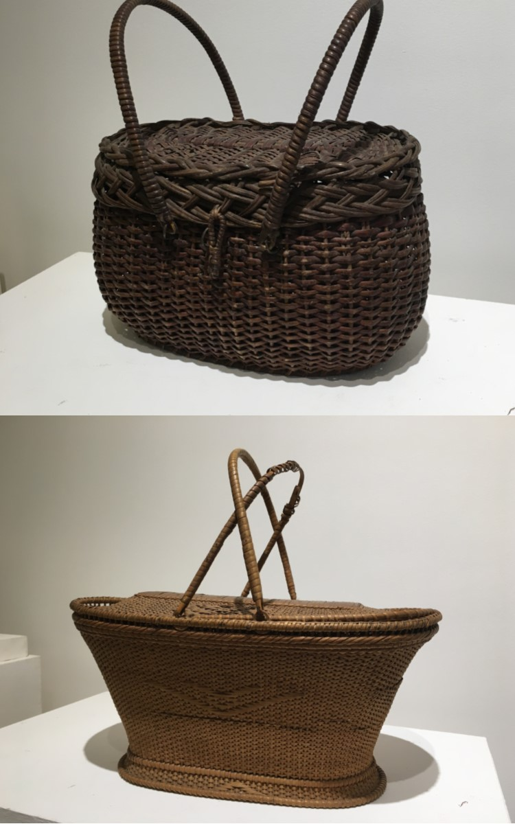 <h3>DOUBLE-HANDLED BASKET WITH BRAIDED LID</em></h3> <br> <p><strong>Willow</strong></p> <p><strong>Nineteenth century</strong></p> <p><strong>Gift of Mrs. Gilbert Terry</strong></p> <br> <p>Baskets like this one probably did not have a specific use. This charming example was probably used as a sewing basket or perhaps as a small picnic basket or even a purse.</p> <br> <br> <hr> <br> <br> <h3>SEWING BASKET</h3> <br> <p><strong>Rattan</strong></p> <p><strong>Late nineteenth century</strong></p> <p><strong>Gift of George Terry</strong></p> <br> <p>This two-handled, lidded basket is thought to have been made in China or elsewhere in Southeast Asia where the rattan plant flourishes. It is a cane-weave. Cane is the exterior of the rattan plant.</p>