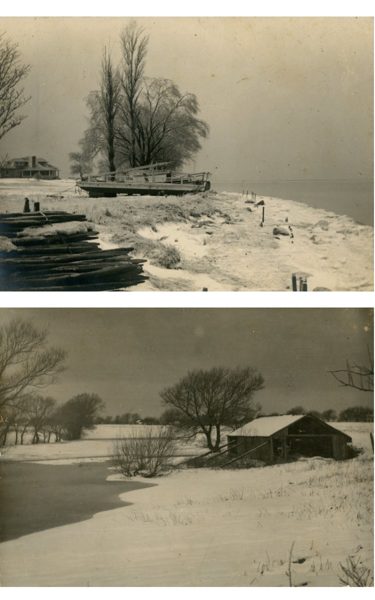 "<h3><em>A Wintry Shore</em></h3> <br> <p><strong>L. Vinton Richard</strong></p> <p><strong>Ca. 1915</strong></p> <br> <p>This photograph was carefully printed, mounted, titled, and signed on the reverse by Richard – perhaps in preparation for an exhibition. It is described on the back by another hand: ""from Chas H. King front/ James F. Douglass residence/ Spiles, Spile driving float and motorboat – accessories of Black Eagle fishing outfit."" The Douglass residence is on Orient Harbor (the house is also shown in the panoramic photograph on the south wall of this gallery). The Black Eagle was the Vail family fishing boat and one of the best-known fishing vessels in this part of the world.</p> <br> <br> <hr> <br> <br> <h3><em>Deserted</em></h3> <br> <p><strong>L. Vinton Richard</strong></p> <p><strong>1914</strong></p> <br> <p>This particularly fine vintage print depicts an abandoned shed that stood at the edge of Major's Pond in Orient. It is one of Richard's most evocative snow scenes. The photograph is also titled ""Major's Pond #3 Deserted"" and ""Majors Pond Orient East Side"".</p>"