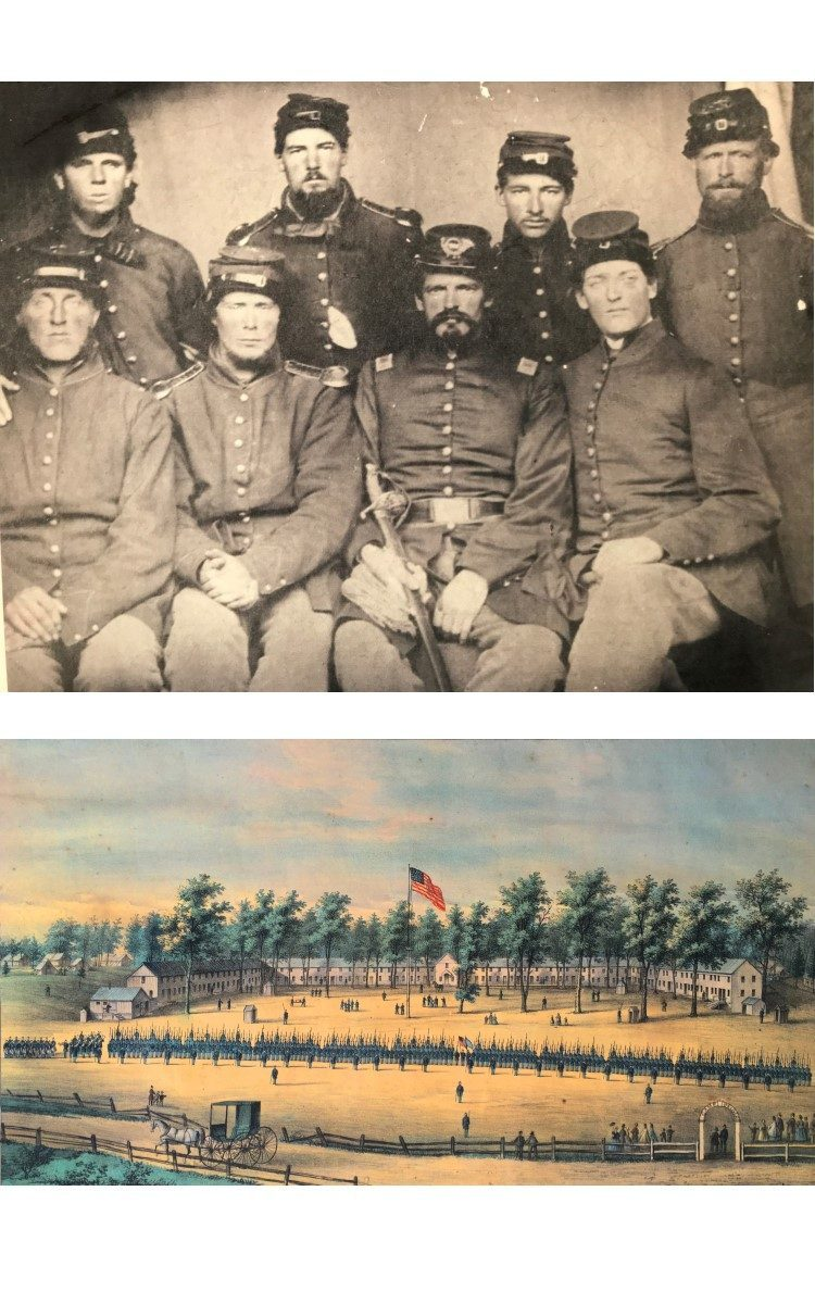 <h3>Photograph of Orient Members of Co. H, 127th Reg. NY</h3> <br> <p><strong>Photographer unknown</strong></p> <p><strong>1863</strong></p> <p><strong>Gift of Allan Heath</strong></p> <br> <p>All eight of these soldiers were from Orient. Front row (left to right): Sidney Petty, Robert Ebbits, James H. Young, Napoleon B. Young. Back row (left to right): George E. Latham, John Henry Young, John S. Young, Charles B. Moore. Three of these men died during the war: Sidney Petty on July 5, 1864; George E. Latham on January 12, 1865; John S. Young on October 27, 1863. The image was taken in Alexandria, Virginia on February 28, 1863. The photograph belonged to John Henry Young, who passed it down to his daughter Leila who passed it down to her son Allan Heath.</p> <br> <br> <hr> <br> <br> <h3>Belger Barracks Baltimore</h3> <br> <p><strong>E. Sachse & Co.</strong></p> <p><strong>Lithograph</strong></p> <p><strong>1863</strong></p> <p><strong>Gift of George R. Latham</strong></p> <br> <p>This lithograph was produced when the 150th Regiment New York Volunteers were at Camp Belger in Baltimore and includes names of both officers and staff. It is a bird's eye view, showing soldiers in formation for a review with the barracks in the background. The firm of E. Sachse & Co. produced some eight different versions of prints of Camp Belger and Belger Barracks, representing the five different regiments that were stationed at Belger at various times during the war. In fact, although the text would change for each Regiment's version, the images remained very similar. Edward Sachse was born in Germany and immigrated to America around 1848, and within a very short time had founded one of the most successful lithographic firms in America. His Camp Belger views were produced in great numbers and were sold very inexpensively as souvenirs to soldiers who often would send them home to show where they were stationed.</p>