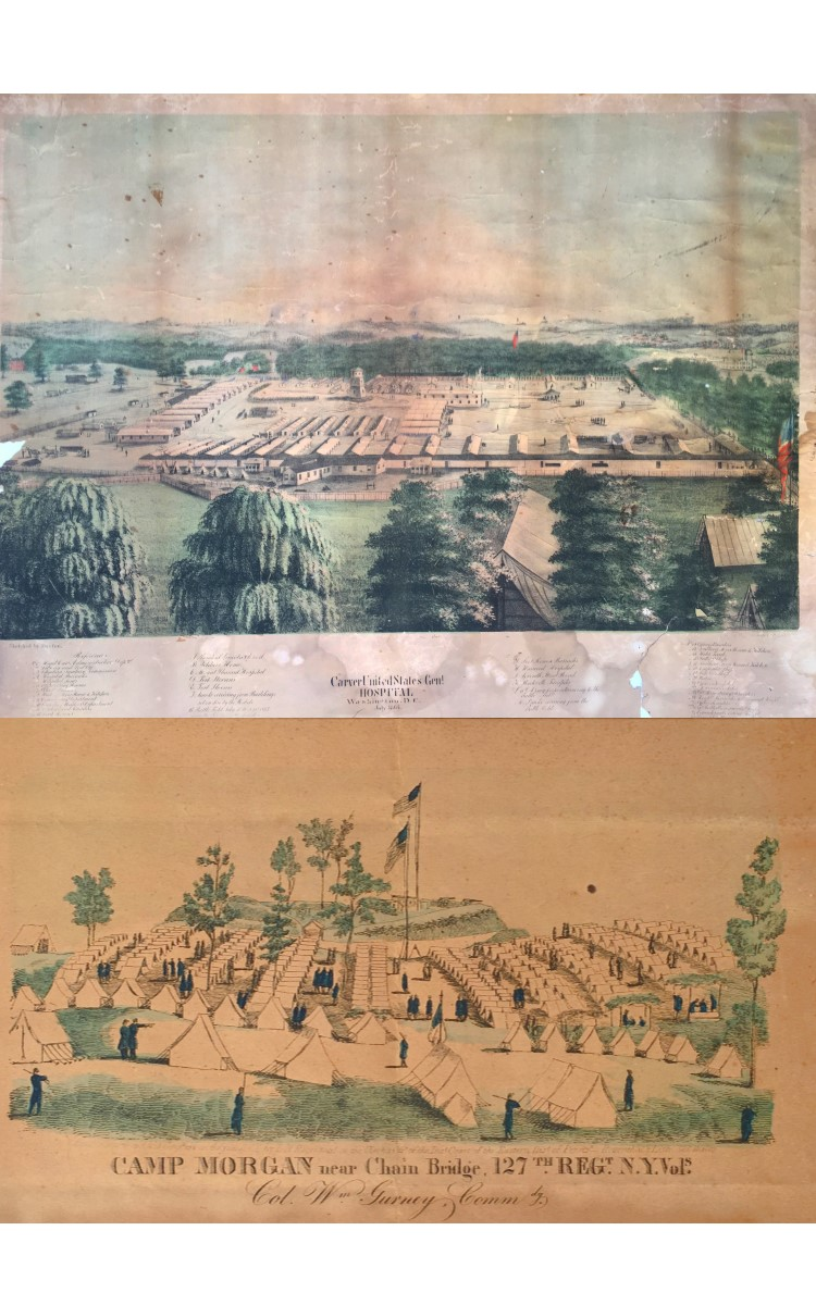 """<h3>Carver United States General Hospital</h3> <br> <p><strong>G.H. Durfee, Lithographer</strong></p> <p><strong>Lithograph</strong></p> <p><strong>1864</strong></p> <br> <p>There were several types of military hospitals established during the Civil War: field hospitals for armies on the march, post hospitals for armies encamped, and camp hospitals for the huge camps set up for mustering troops in the District of Columbia. Lastly, there were the general hospitals to take care of the sick and wounded left behind and, importantly, to care for the wounded too ill to languish in the other types of hospital. Some twenty-five general hospitals were established in the Washington area alone to care for the endless stream of sick and wounded soldiers. Most were created out of existing public buildings; only five were purpose-built. The barracks-style Carver General Hospital was not one of them, although contemporary photographs show a positive attempt to provide good air circulation and cleanliness – still relatively new ideas at the time. Virtually nothing is known about the lithographer, G.H. Durfee or the artist H. Schroeder who collaborated on this print.</p> <br> <br> <hr> <br> <br> <h3>Camp Morgan Near Chain Bridge</h3> <br> <p><strong>Lithograph</strong></p> <p><strong>L.N. Rosenthal</strong></p> <p><strong>1862</strong></p> <br> <p>Camp Morgan was occupied by the 127th Regiment New York Volunteers from September 13 to October 17, 1862. That was the first encampment of the 127th – also called the """"Monitors"""". Eleven members of Company H of the 127th were from Orient. Camp Morgan was located on the Virginia side of the Potomac near Chain Bridge which connected Washington, DC to Virginia at Little Falls. Chain Bridge received its name from a suspension bridge built in 1808. That was the third bridge at the site. The present bridge, constructed in 1939, is the eighth to span the river at that spot. During the Civil War the Philadelphia lithographic company, Louis N. Rosen"""